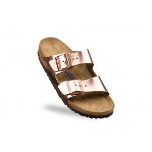 Sandale Birkenstock Arizona orange femme cuir lisse (metallic copper) - BK752723…