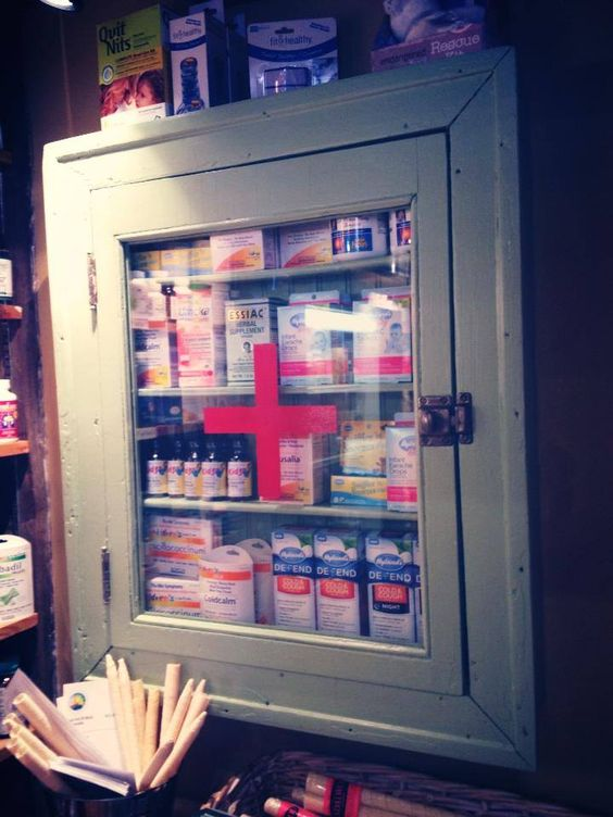 An old medicine cabinet with a glass front door is a great foundation for your go-to meds!  A fresh coat of paint and a red cross on the front, and you've got a cute little spot for the family's Tylenol, q-tips, and band-aids!!