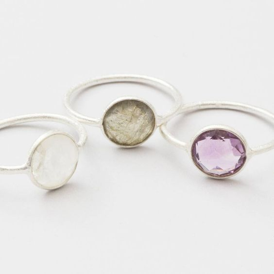 Orva Brushed Silver And Semi Precious Stone Ring