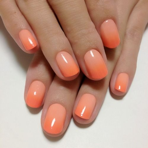 Light coloured, #orange #ombre nail design.