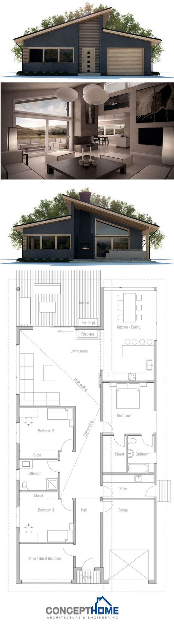 Plan de maison plans de maisons pinterest for Large tiny house plans