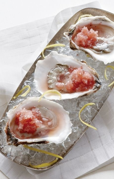Watermelon Lemon and Pepper Granita + fresh oysters