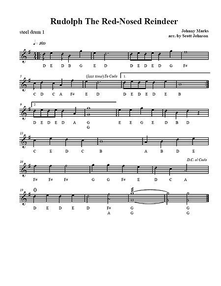 rudolph the red nosed reindeer sheet music pdf