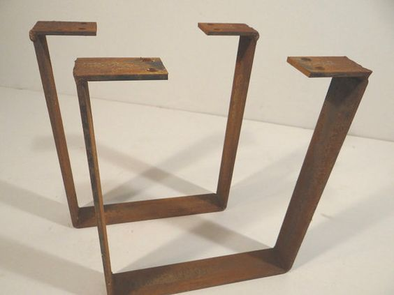 set of 2 weathered flat steel u shaped table legs