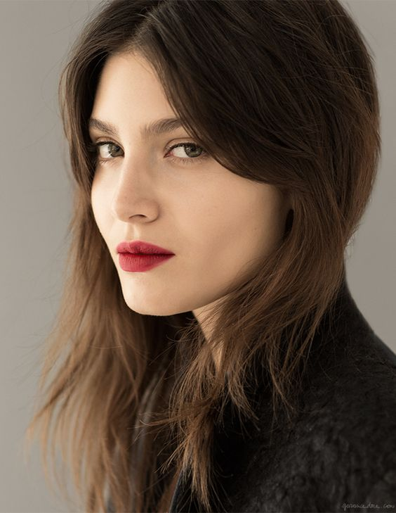 french women style, red lipstick