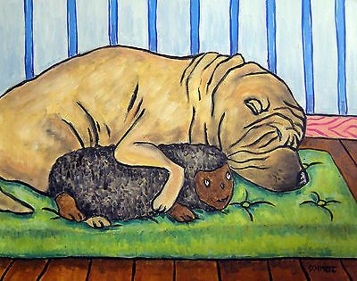 PRINT bedroom art shar pei dog toy 13x19 modern poster JSCHMETZ folk pop