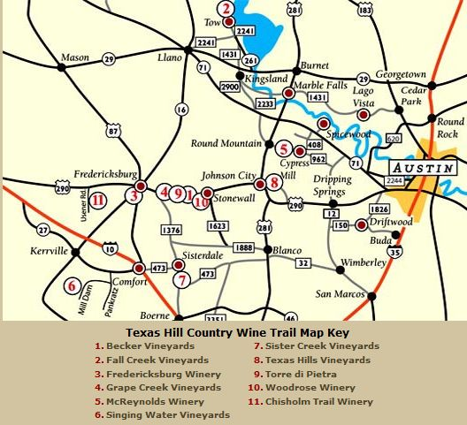 Hill Country Wine Map Around Fredericksburg TX  Native