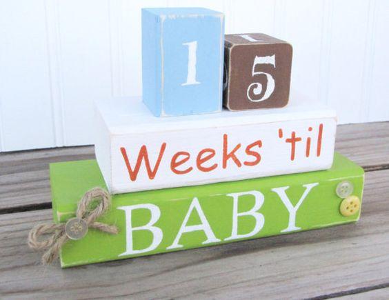 Baby Countdown Blocks by CreeksideCreations31 on Etsy, $26.00