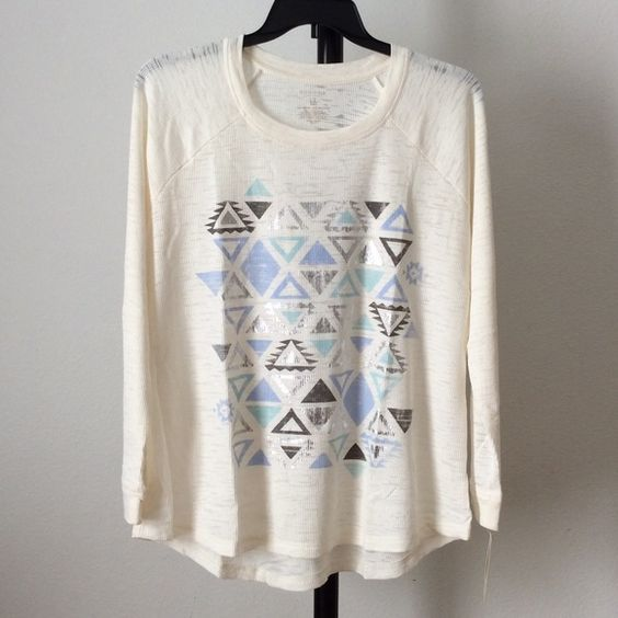 NWT Long sleeved top Scoopneck. Thermal construction. Tag free design.   qutwtwiq Sonoma Tops Tees - Long Sleeve