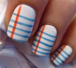 notebook paper back to school nails