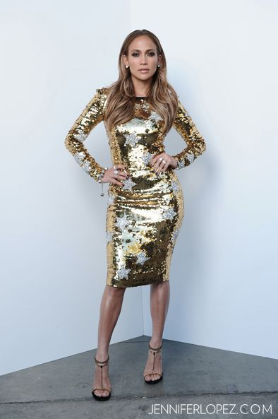 Jennifer Lopez Sparkling In A Gold Dolce Star Print Dress On American Idol Dolce Gabbana