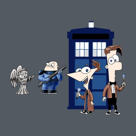 gahhh this awesome design on TeePublic! Phineas and Ferb + Dr Who mashup! http://bit.ly/1oIl1cN