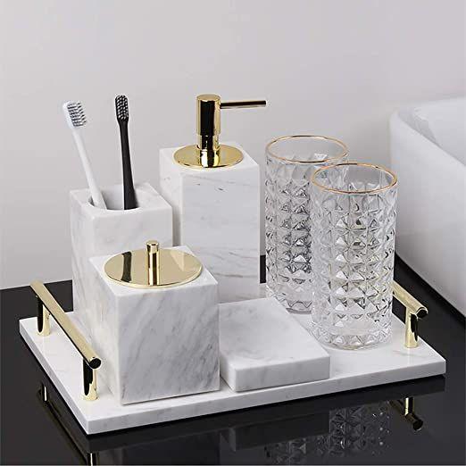 Marble Bathroom Accessory Set Of 7, Bathroom Toothbrush Holder Set