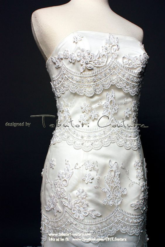 Ivory great details lace mermaid style wedding gown, flexible back closure with matching veil on Etsy, $899.00