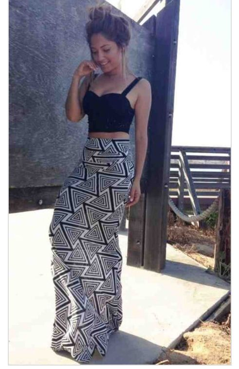 High waist maxi skirt and crop top – Modern skirts blog for you
