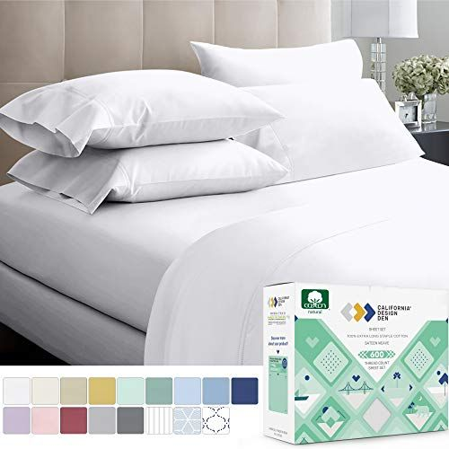 600 Thread Count 100 Cotton Sheets Pure White Extra Long Staple Cotton Twin Sheets For Kids Adults Fits Mattress 15 Deep Pocket Sateen Weave Soft Cotto In 2020 Best Bed Sheets Luxury