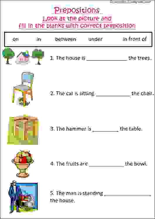 English Grammar Worksheet With Pictures To Practice Preposition, Ideal For Grade  1 Kids Or Esl S… Preposition Worksheets, 1st Grade Worksheets, Grammar  Worksheets