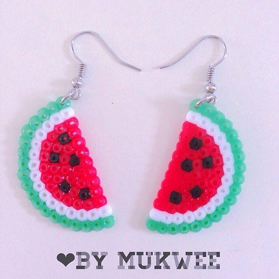 Watermelon earrings perler beads by bymukwee