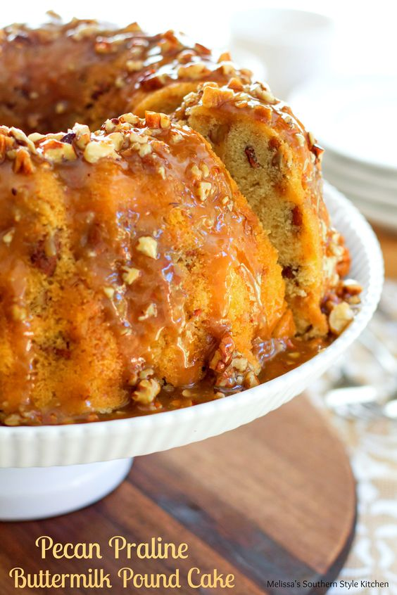praline buttermilk pound cake is filled with toasted pecans and toffee ...