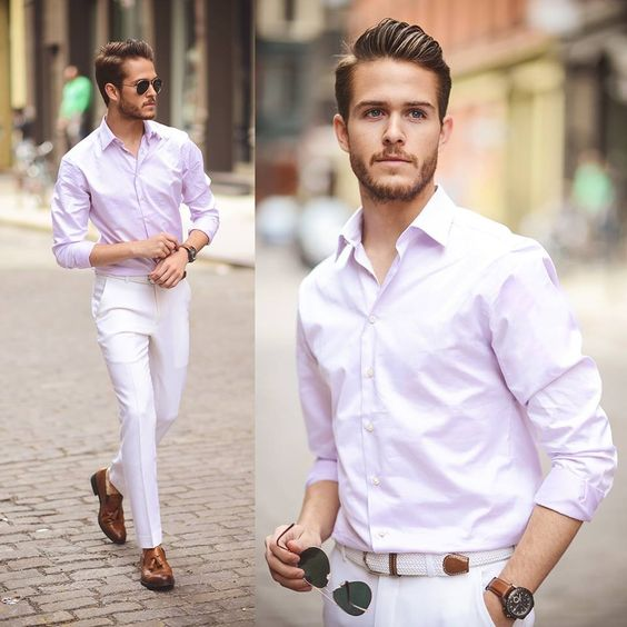 Light pink shirt, white pants | fashin | Pinterest | Pink Shirts ...