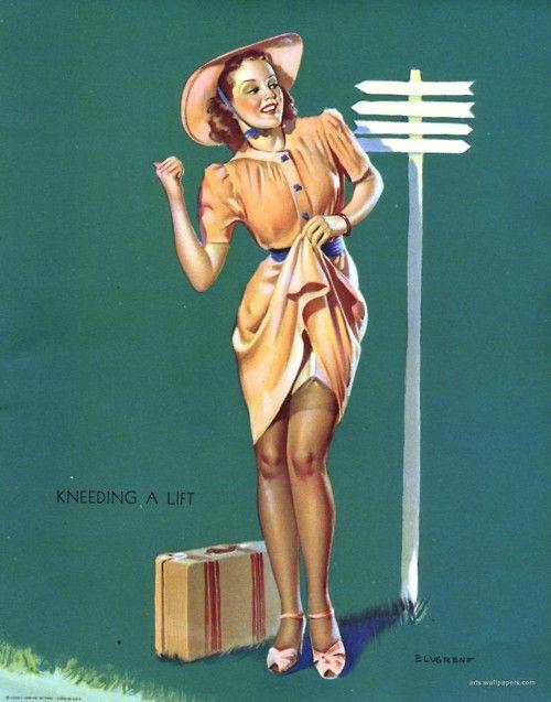 Knee-ding a Lift (The High Way) - Gil Elvgren 1940
