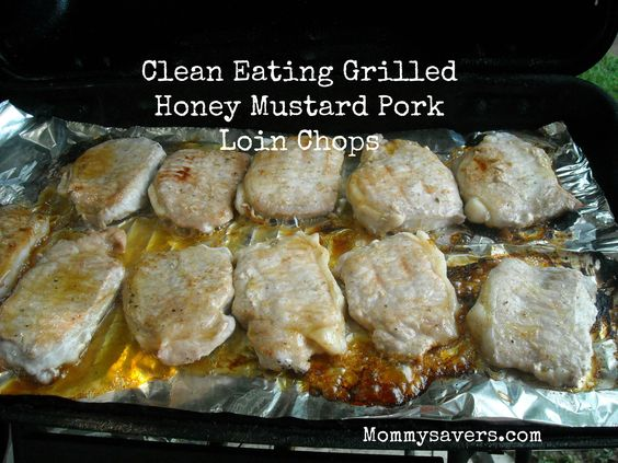eating grilled pork honey mustard pork pork chops pork loin chops loin ...