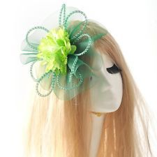 green pins fascinator race party flower hair clip handmade cocktail accessory : Want more? https://bitly.com/showmemorepls