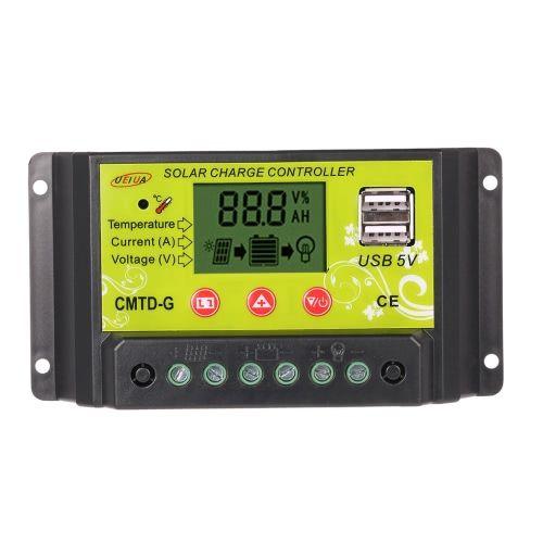 PWM Solar Charge Controller 12V//24V Regulator LCD Display USB Panel Battery 20A