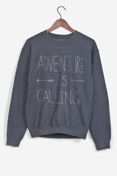 Grey sweatshirt hand-printed. American cut, crew neck, fitted shoulders and sleeves, ribbed trim and tightening at wrists. Ultra soft and comfortable inside. Adventure is Calling by Leah Flores for Rad.: