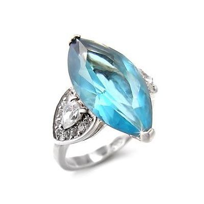 Silver Ring with Cubic Zirconia - Marquise & Pear Cut Stones, VORI03-01551