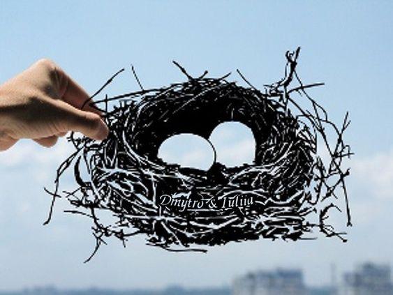 Family Nest Handmade Original Papercut First Anniversary Personalized Gift: Hand-Cut Paper Art Silhouette (UNFRAMED)