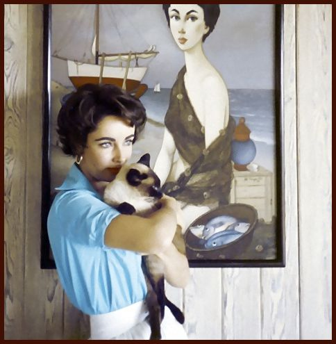 "Elizabeth Taylor possibly holding ""Jeepers Creepers"", also adored and owned several Siamese cats."