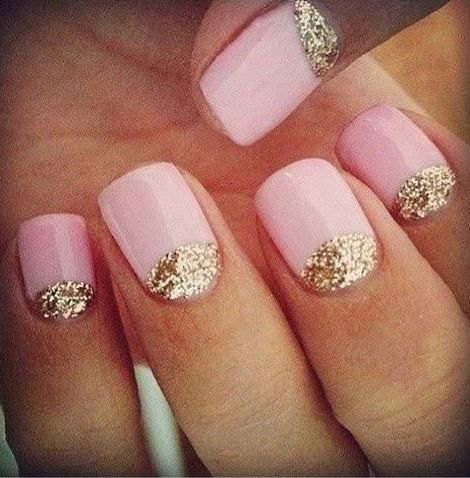 Pink & Gold Reverse French Manicure