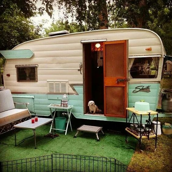 Turquoise and white vintage Shasta trailer. Too cute