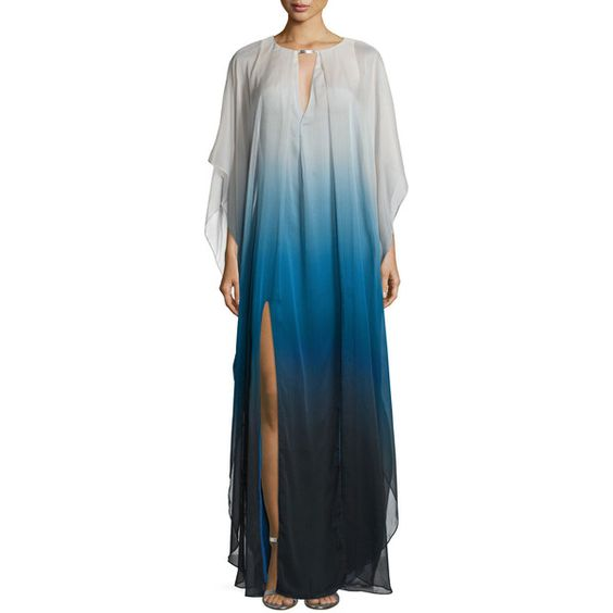Halston Heritage Long-Sleeve Ombre Caftan Gown (3,295 MXN) ❤ liked on Polyvore featuring dresses, gowns, atlantic, halston heritage dresses, kaftan dress, ombre dress, long sleeve evening dresses and blue dress
