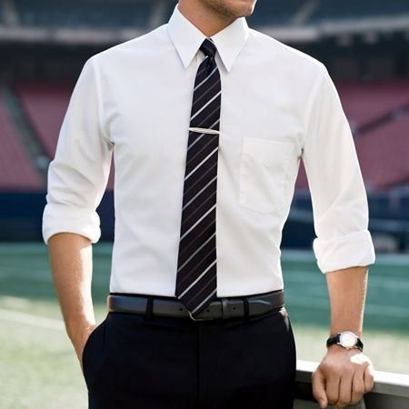 """There's something about a man in a dress shirt with the sleeves rolled up. Rawr. """"Business deconstructed"""" is what I call it."""