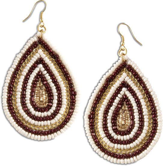 """Earthy Drops - 2.5"""" Beaded Earrings"""