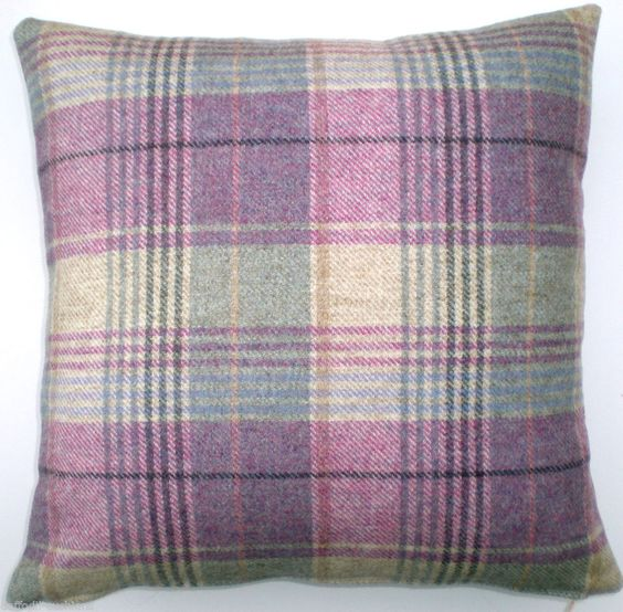 Cushion Cover  - Wool Tartan. Kincraig Heather fabric from Moon, both sides.16""