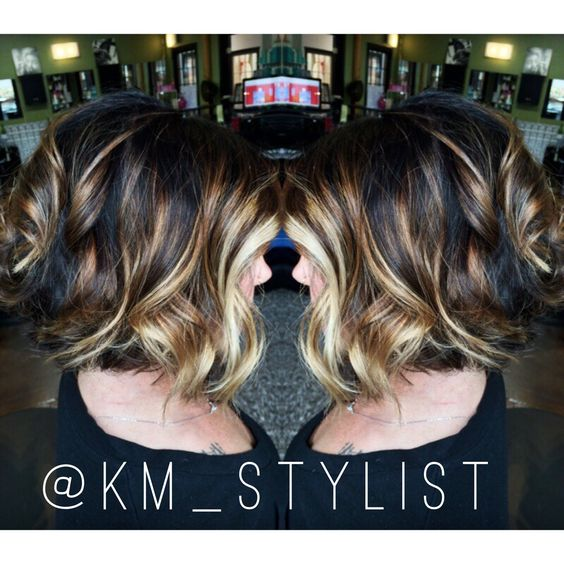 Blonde balayage brown balayage Short bob: