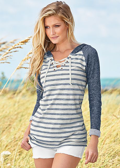 NAVY MULTI Striped lace up sweatshirt from VENUS