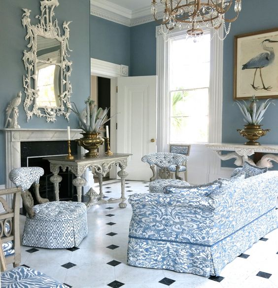 Pretty blue white room in Carolyne Roehm's Charleston home. This is her bird room, it all started with a beautiful bird painting.: