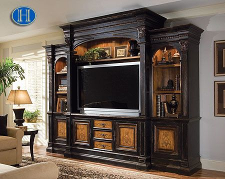 Hooker north hampton entertainment center up to 55 inch - Best size flat screen tv for living room ...