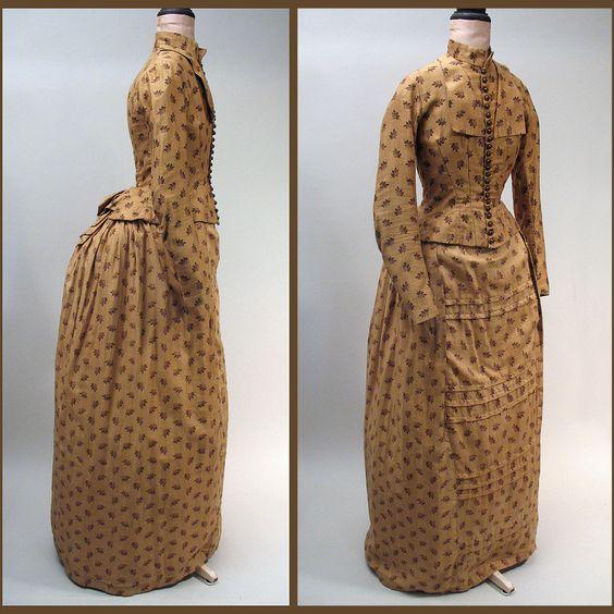 Cotton Calico Dresses 1870s-1880s