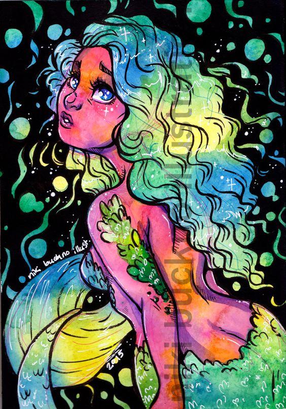 PRINT - Neon Mermaid - 8.5 by 11