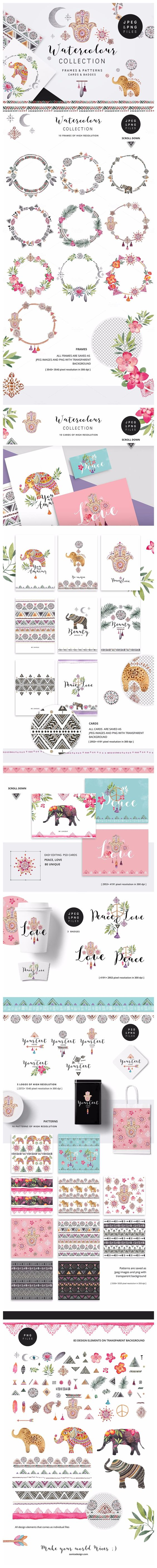 Peace&Love (watercolour collection) | #watercolor #clipart #wedding #flower #floral #wreath #feather #ethnic #nature #plant #patterns #badges #greetingcard #notebook #invitation #indian #hamsahand #elephant #symbol #logo