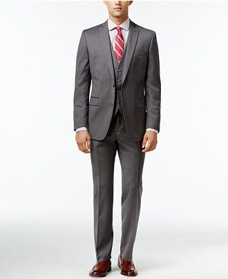 Bar III Mid-Grey Pindot Slim-Fit Suit Separates - Suits & Suit Separates - Men - Macy's