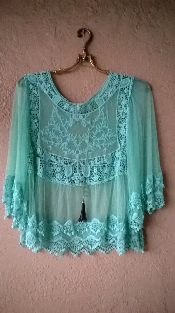 Image of Kimchi & Blue mint lacey Bohemian romantic gypsy top:
