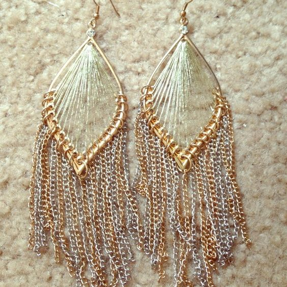 New! Beautiful gold earrings! Gold earrings with a stud at the top and gold and silver falling dainty chains Accessories