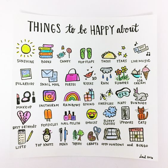 A list of things to be happy about - 9 amazing bullet journal page ideas for self-care - Ourmindfullife.com
