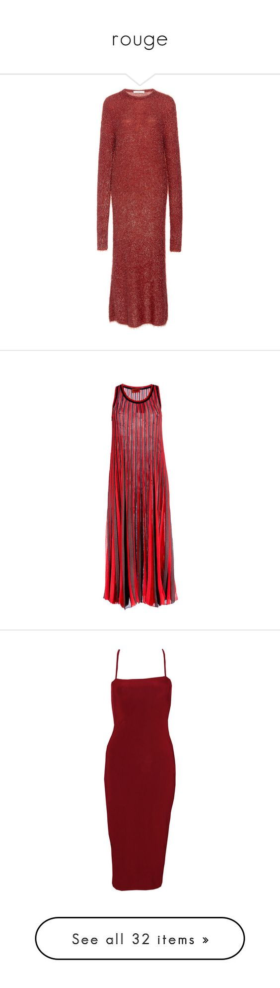 """""""rouge"""" by citizensofearth ❤ liked on Polyvore featuring dresses, long dresses, form fitting dresses, tibi, red form fitting dress, shift dress, red dress, missoni dress, red sheath dress and red stripe dress"""